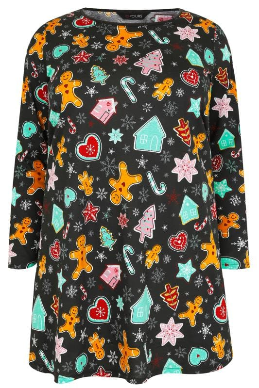 Black & Multi Christmas Gingerbread Man Print Novelty Longline Top