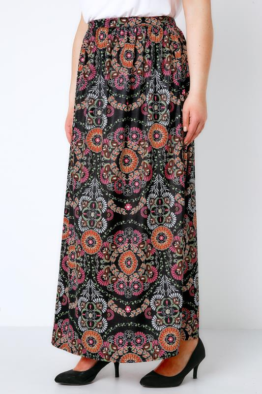 Black & Multi Circle Gypsy Print Jersey Maxi Skirt