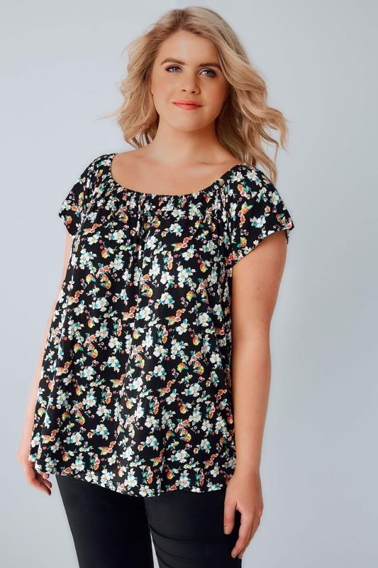 Black & Multi Ditsy Floral Soft Jersey Bardot Top