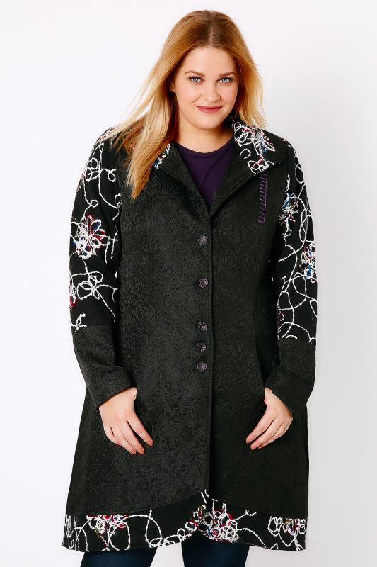 Black & Multi Fancy Frock Coat With Funnel Neck