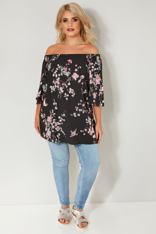 Black & Multi Floral & Bird Print Bardot Top