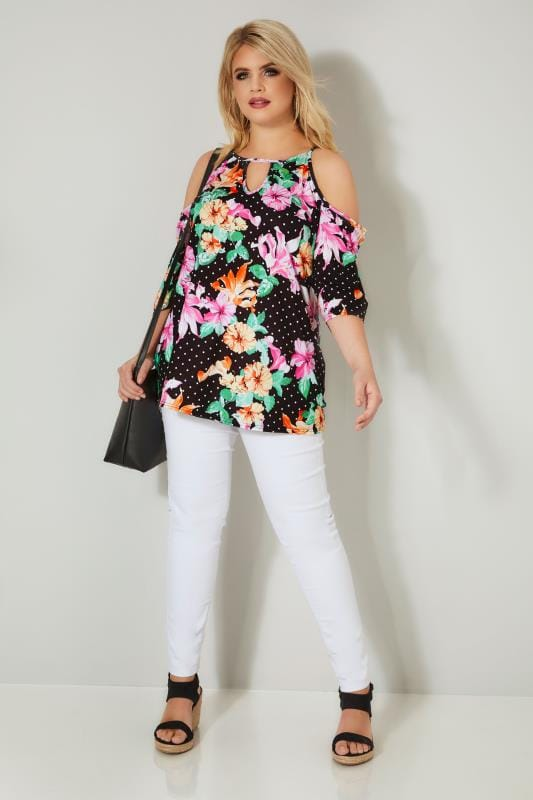 Black & Multi Floral Cold Shoulder Jersey Top