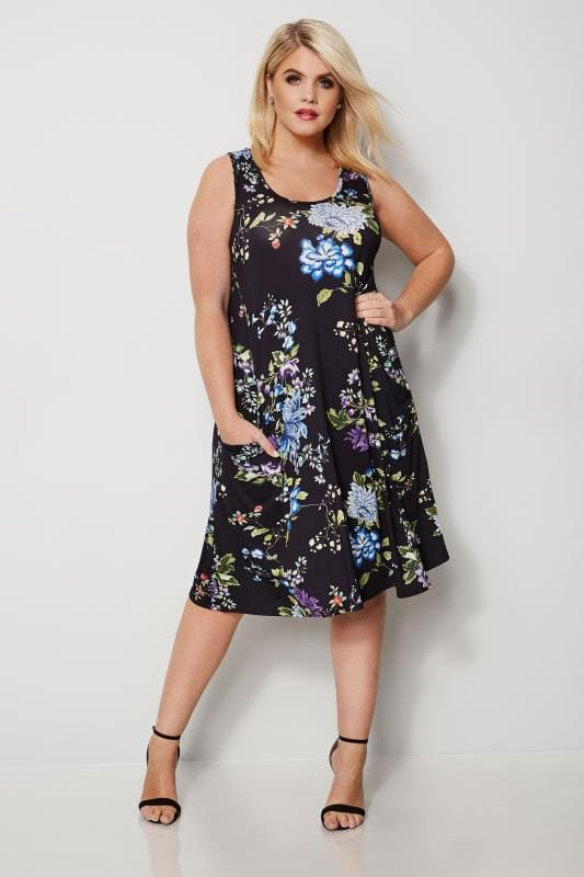 Black & Multi Floral Drape Pocket Dress