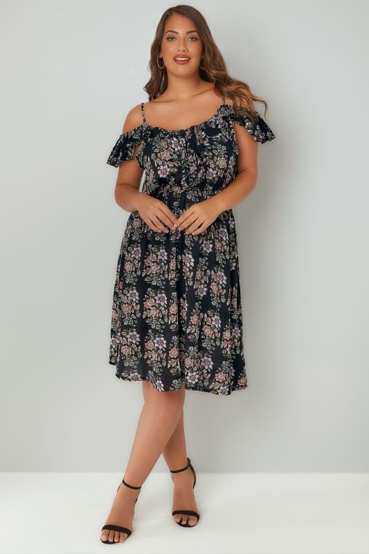 Black & Multi Floral Frill Cold Shoulder Dress With Button Up Detail