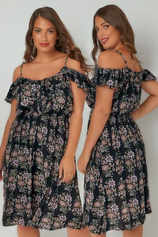 Plus Size Midi Dresses Black & Multi Floral Frill Cold Shoulder Dress With Button Up Detail