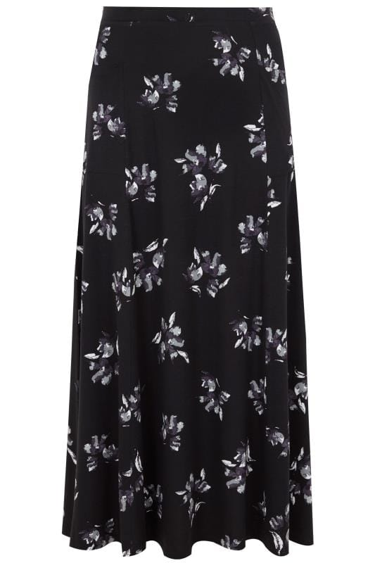 Black Amp Multi Floral Maxi Skirt With Pockets Plus Size 16