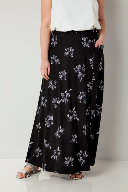 Plus Size Maxi Skirts Black & Multi Floral Maxi Skirt With Pockets