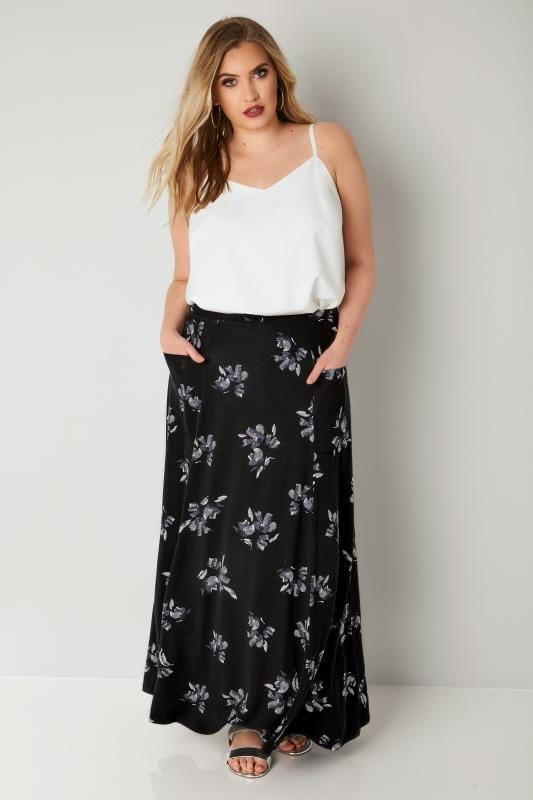 Black & Multi Floral Maxi Skirt With Pockets
