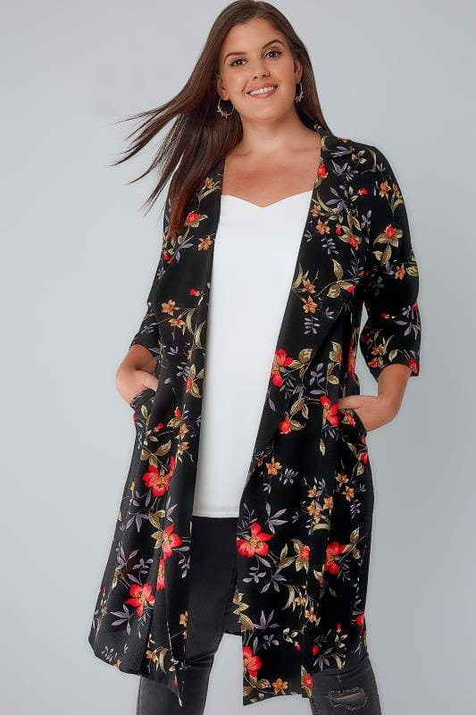 Plus Size Jackets Black & Multi Floral Panelled Duster Jacket With Waterfall Front & Half Sleeves