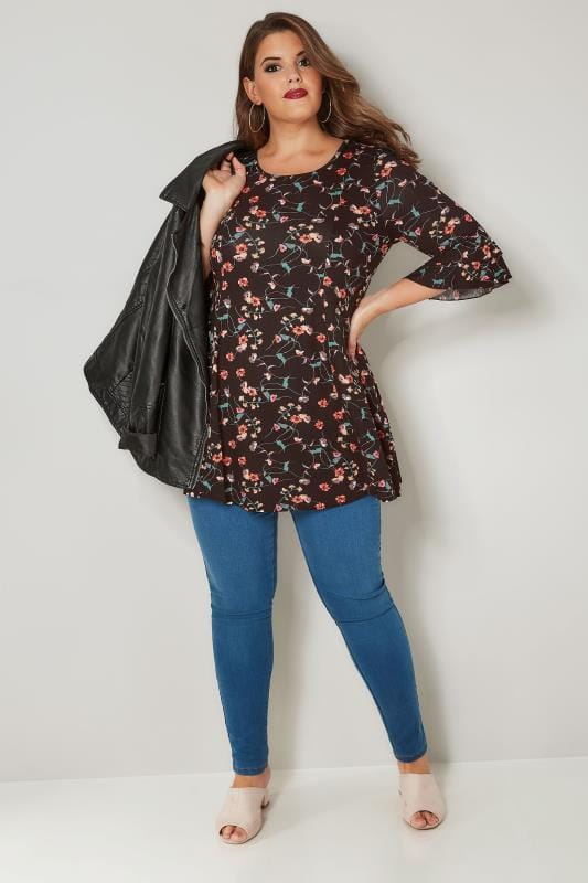 Black Floral Peplum Top With Flute Sleeves