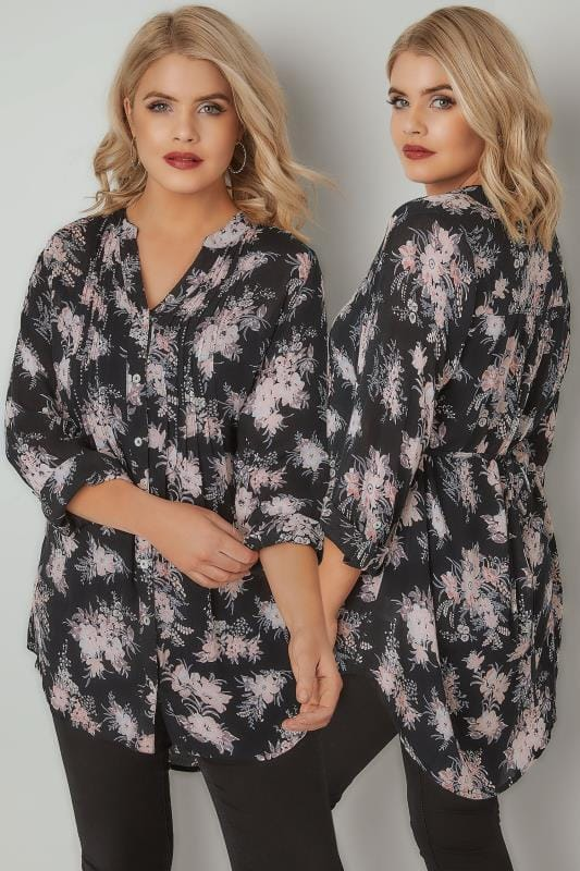 Black & Multi Floral Pintuck Longline Blouse With Beading Detail