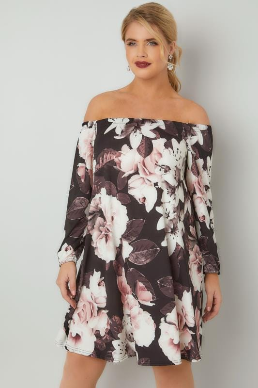 Black & Multi Floral Print Bardot Shift Dress