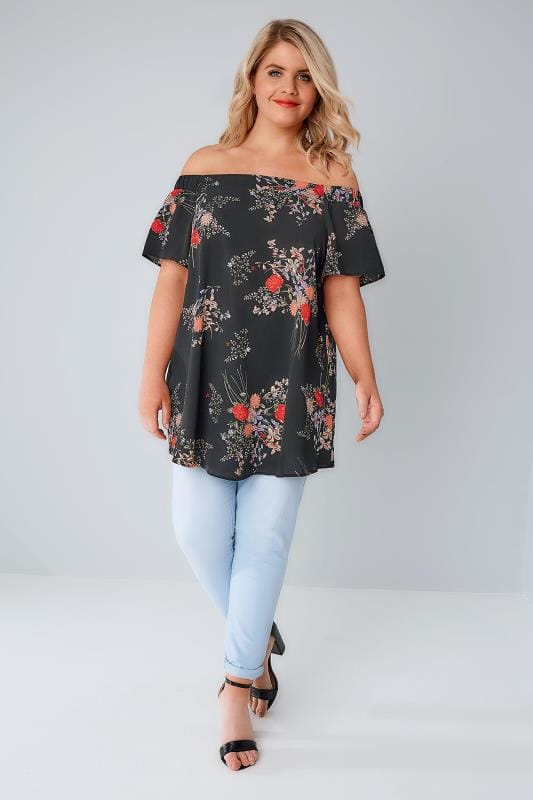 Black & Multi Floral Print Bardot Swing Top With Elasticated Shoulders