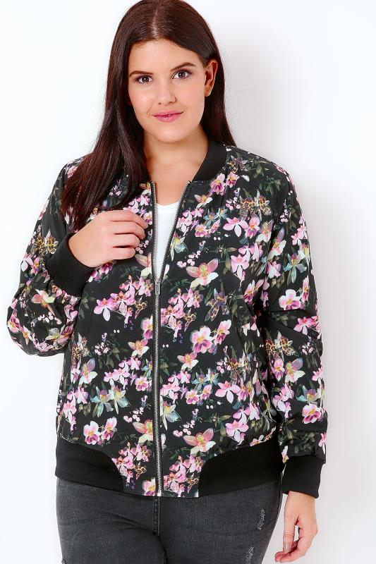 Black & Multi Floral Print Bomber Jacket