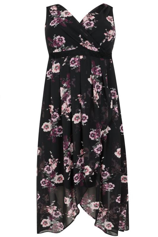 Black & Multi Floral Print Chiffon Maxi Dress With Wrap Front & Lace Details