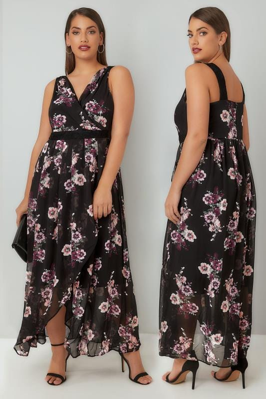 Plus Size Maxi Dresses Black & Multi Floral Print Chiffon Maxi Dress With Wrap Front & Lace Details