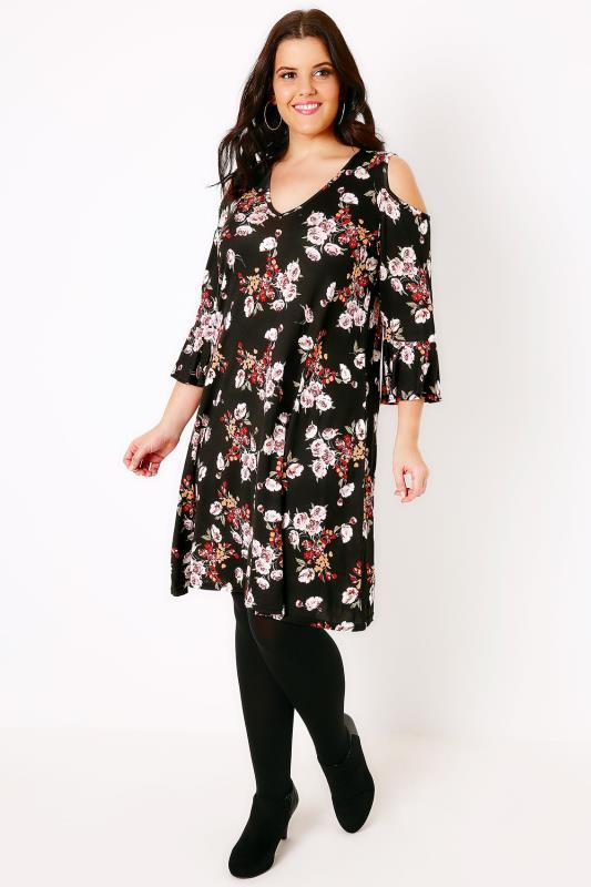 Black & Multi Floral Print Cold Shoulder Midi Dress With Frill Cuffs