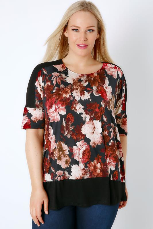 Black & Multi Floral Print Colour Block Top