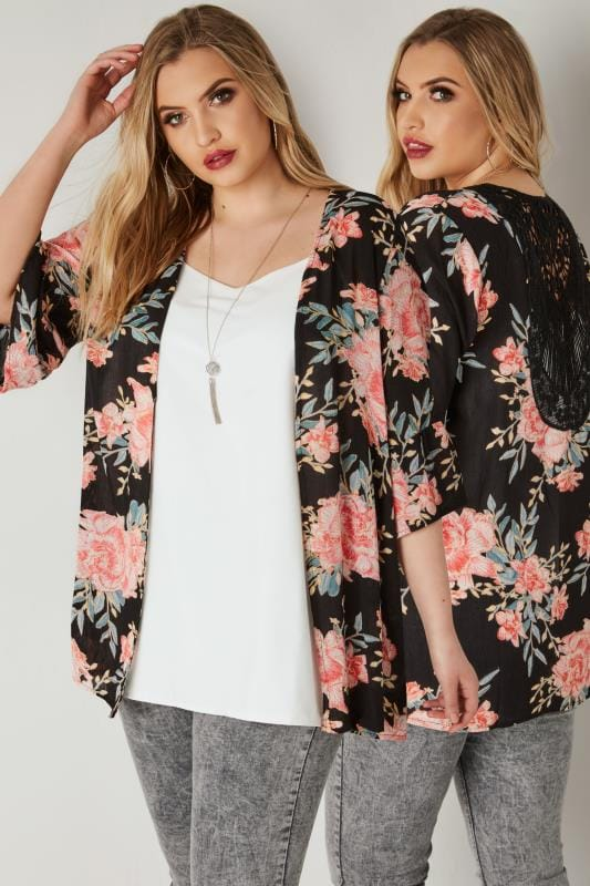 Plus Size Cardigans Black & Multi Floral Print Cover-Up With Crochet Back & Flute Sleeves