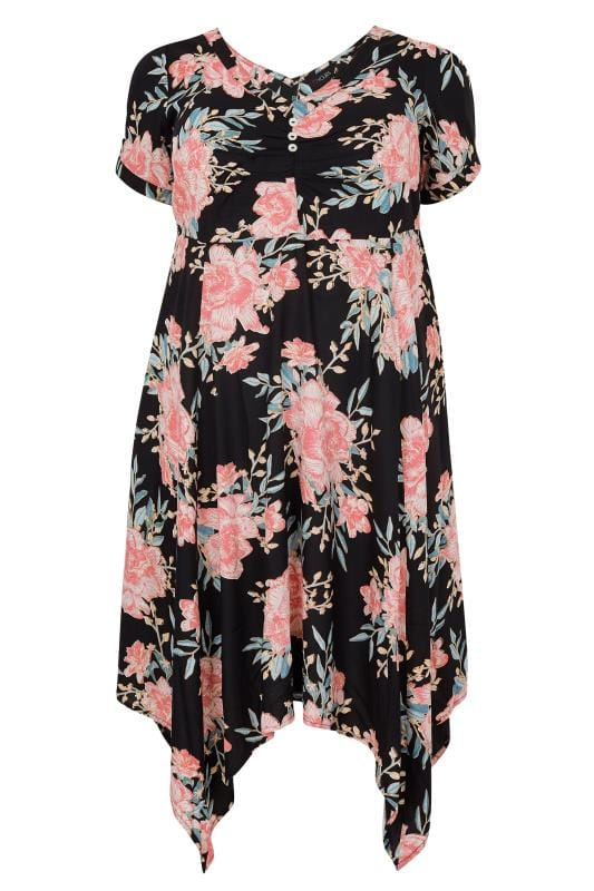Black & Multi Floral Print Dress With Tie Waist & Hanky Hem