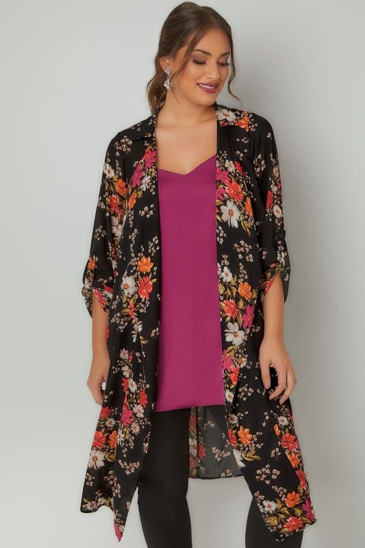 Plus Size Cover Ups Black & Multi Floral Print Duster Jacket With Roll Up Sleeves