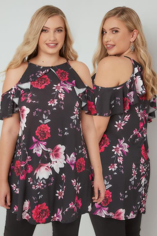 Plus Size Bardot & Cold Shoulder Tops Black & Red Floral Print High Neck Cold Shoulder Top With Frill Detail