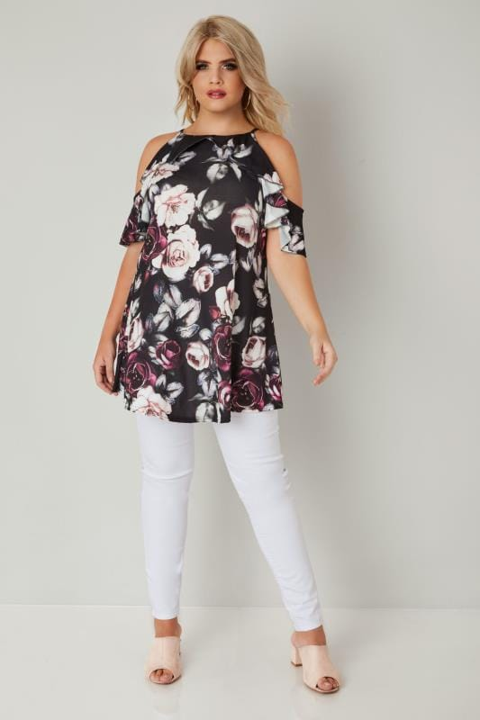 Black & Multi Floral Print Frill Sleeve Longline Cold Shoulder Top