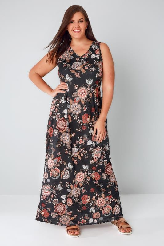 Black & Multi Floral Print Jersey Maxi Dress With V-Neck