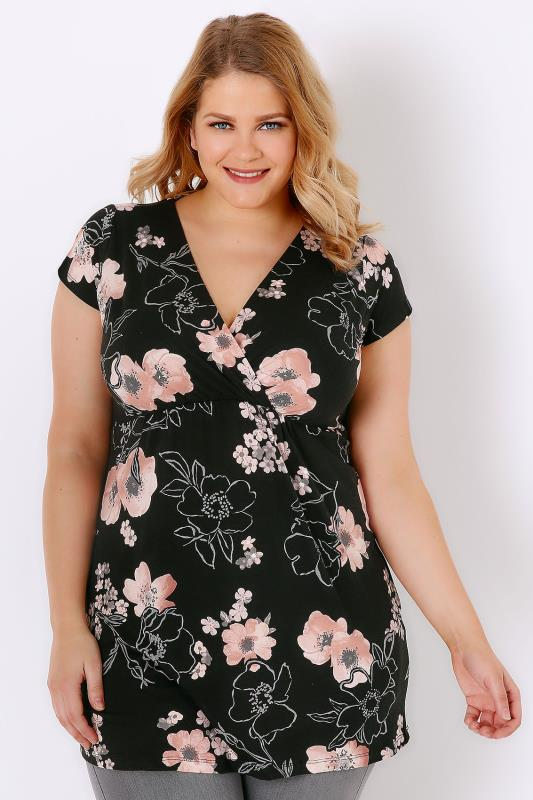 Black & Multi Floral Print Jersey Wrap Top