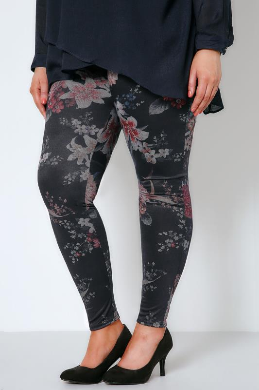 Black & Multi Floral Print Jersey Jeggings