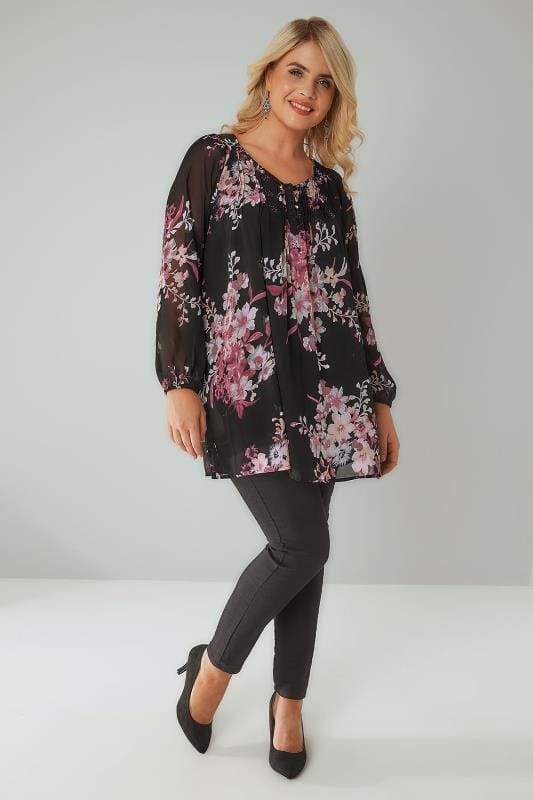 Black & Multi Floral Print Longline Blouse With Pintuck Pleats