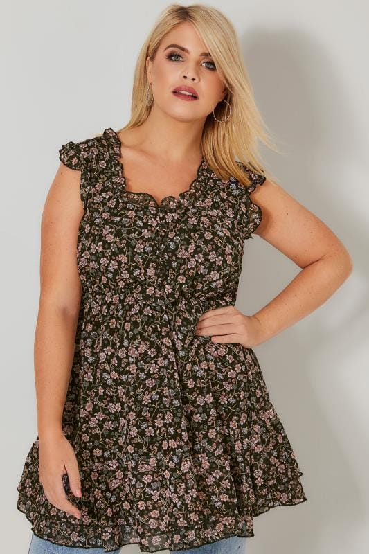 Plus Size Longline Tops Black & Multi Floral Print Longline Top With Frilled Trims