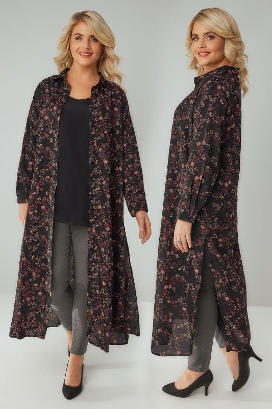 Plus Size Blouses & Shirts YOURS LONDON Black & Multi Floral Print Maxi Shirt Dress