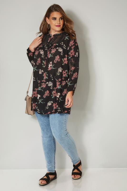 Black Floral Lace Insert Blouse
