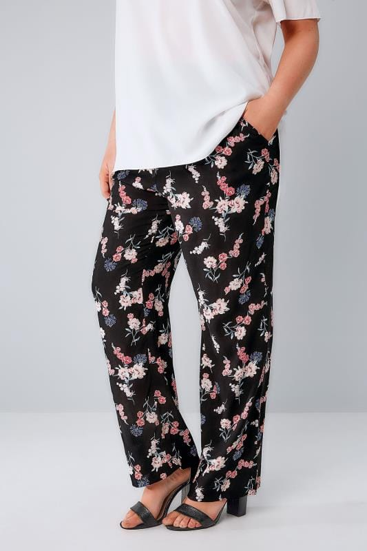 Black & Multi Floral Print Palazzo Trousers With Elasticated Waist