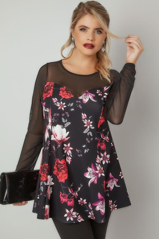 Party Tops Black & Multi Floral Print Peplum Top With Sweetheart Neckline & Mesh Sleeves 134294