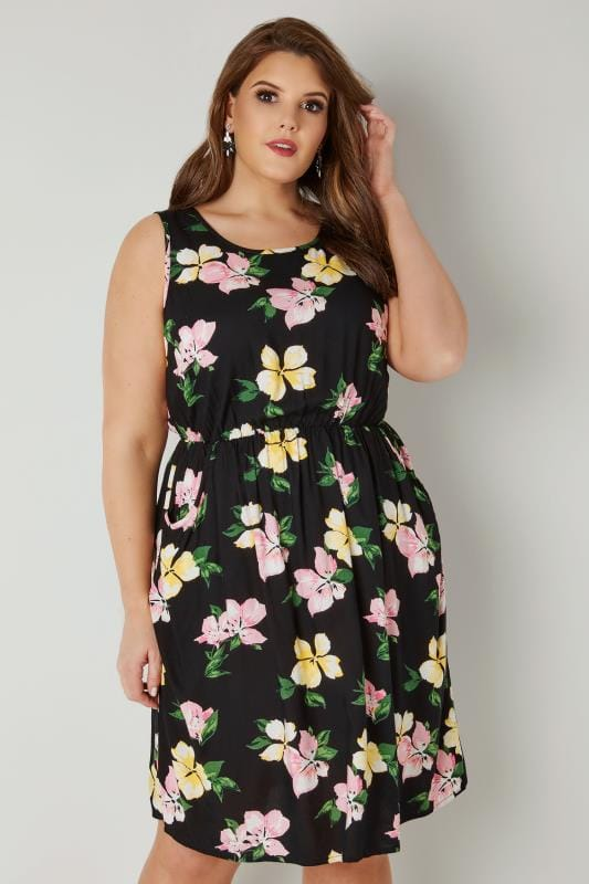 Black & Multi Floral Print Pocket Dress With Elasticated Waist