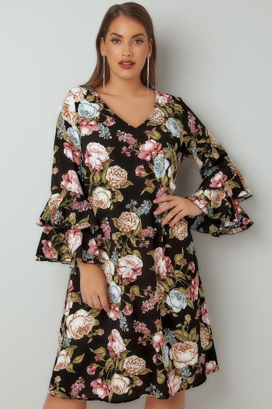 Swing & Shift Dresses YOURS LONDON Black & Multi Floral Print Shift Dress With Layered Flute Sleeves 156287