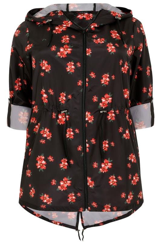 Buy Here Pay Here Md >> Black & Multi Floral Print Pocket Parka With Hood, Plus size 16 to 36