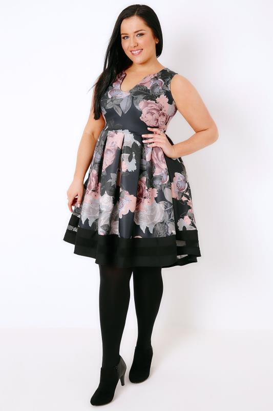 Black & Multi Floral Print Skater Dress With Notch Neck & Mesh Panel