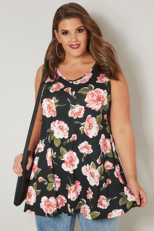 Plus Size Day Tops Black & Multi Floral Swing Top
