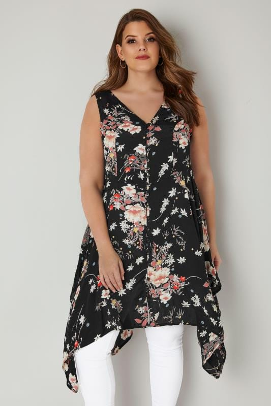 Plus Size Longline Tops Black & Multi Floral Print Sleeveless Top With Cross Over Back & Hanky Hem