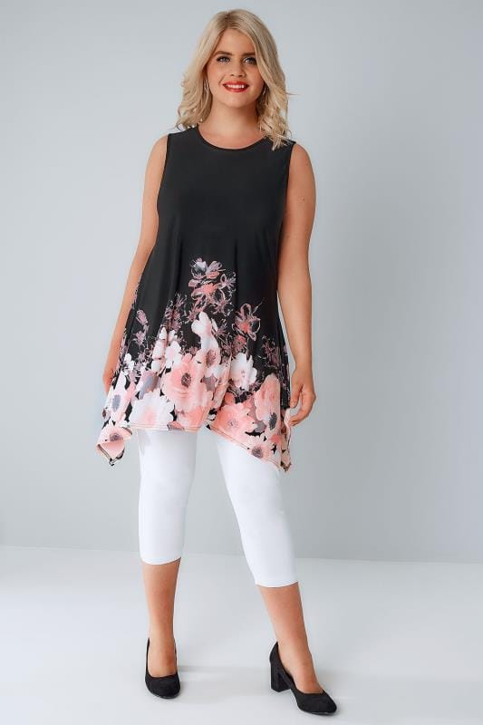 Black & Multi Floral Print Slinky Stretch Sleeveless Top With Cut Out Back