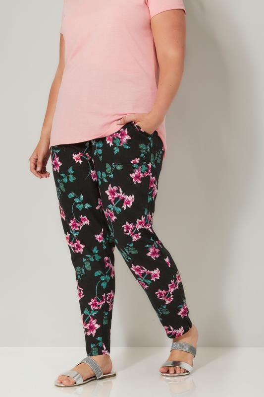 Plus Size Linen Mix Pants Black & Multi Floral Print Tapered Linen Trousers
