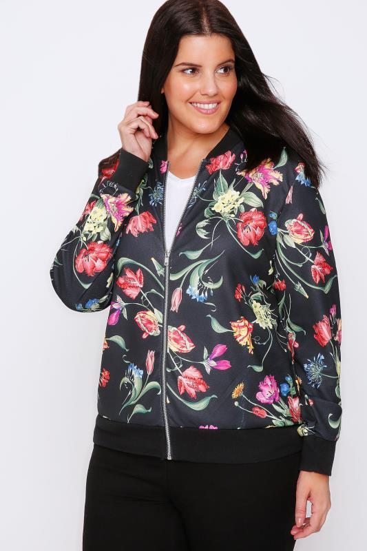 Black & Multi Floral Print Textured Bomber Jacket
