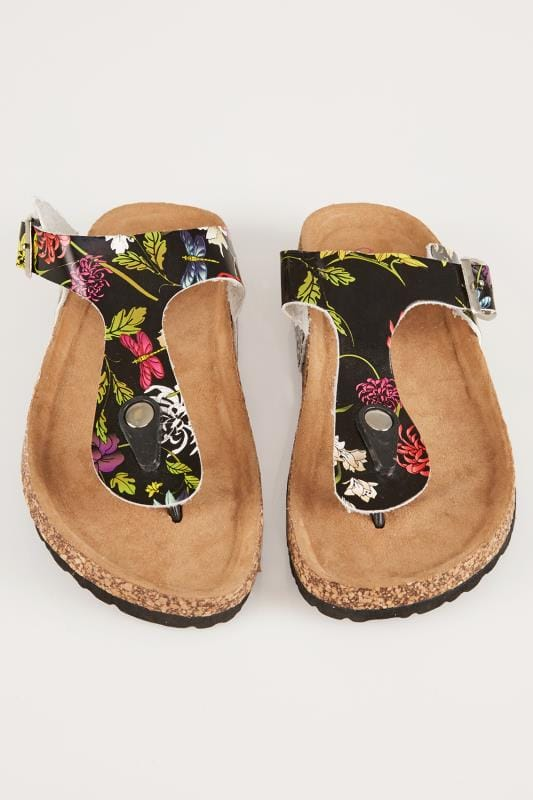 Black & Multi Floral Print Toe Post Cork Effect Sandals In EEE Fit