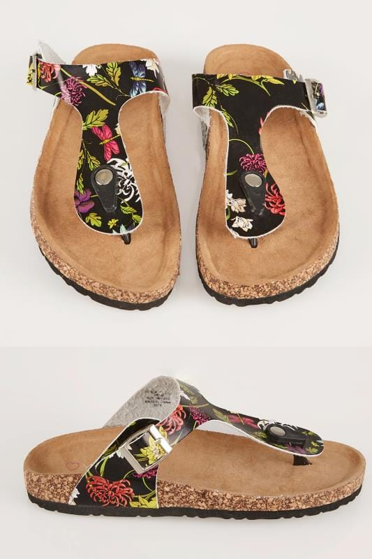 Sandales Black & Multi Floral Print Toe Post Cork Effect Sandals In EEE Fit 056754