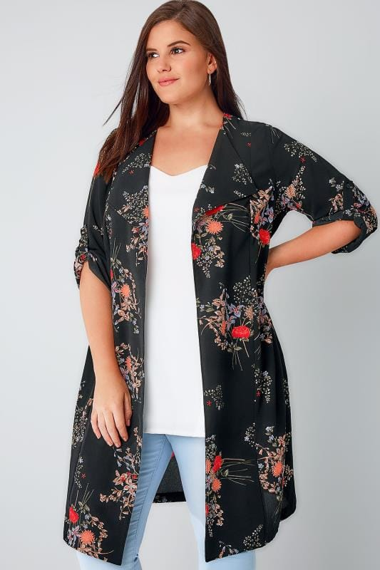 Black & Multi Floral Print Waterfall Duster Jacket