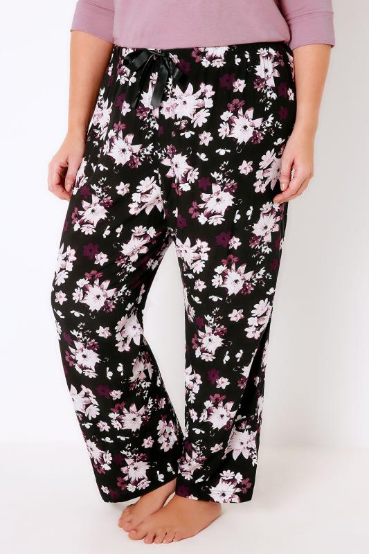Black & Multi Floral Print Woven Pyjama Bottoms