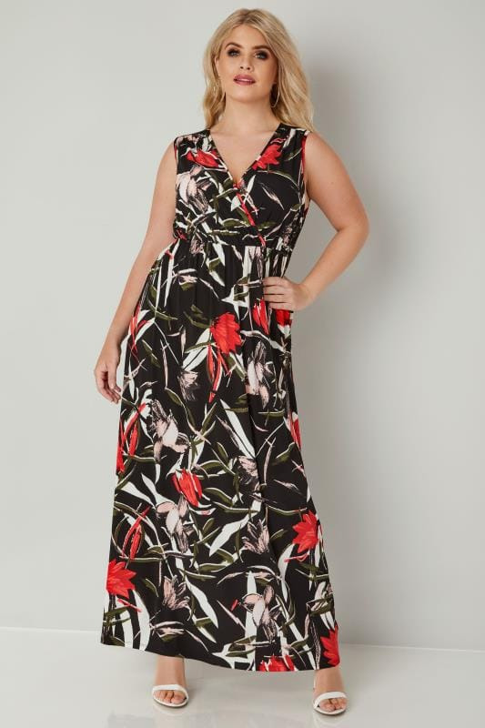 Plus Size Maxi Dresses Black & Multi Floral Print Wrap Maxi Dress With Elasticated Waist